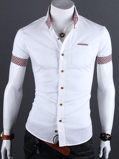Checked Edging Turn-Down Collar Short Sleeve Men's Shirt - WHITE 2XL