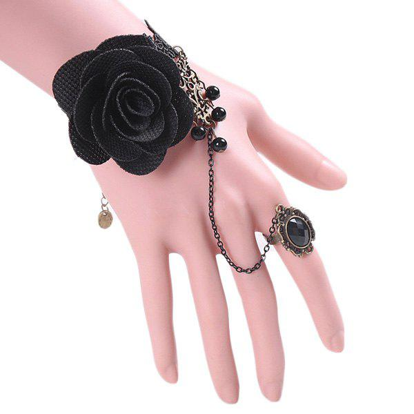 Vintage Floral Chain Bracelet With Ring For Women - BLACK ONE-SIZE