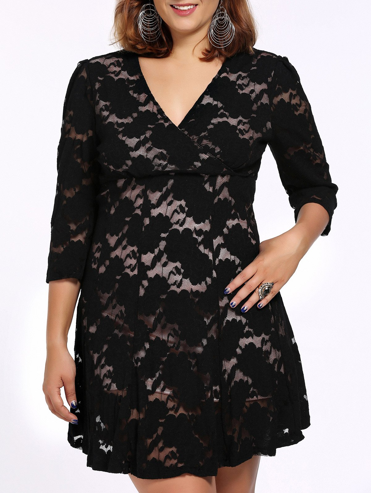 Alluring Plus Size Black 3/4 Sleeve Plunging Neck Women's Lace Dress - BLACK 3XL