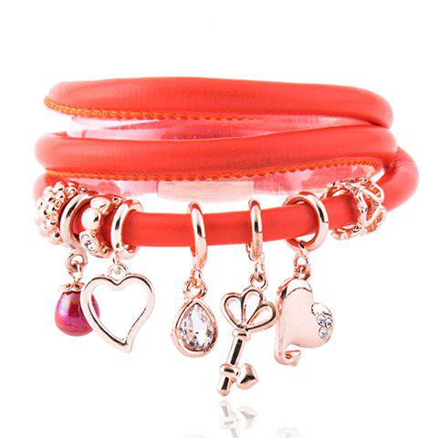 Heart Water Drop Rhinestone Beads Charm Bracelet - RED