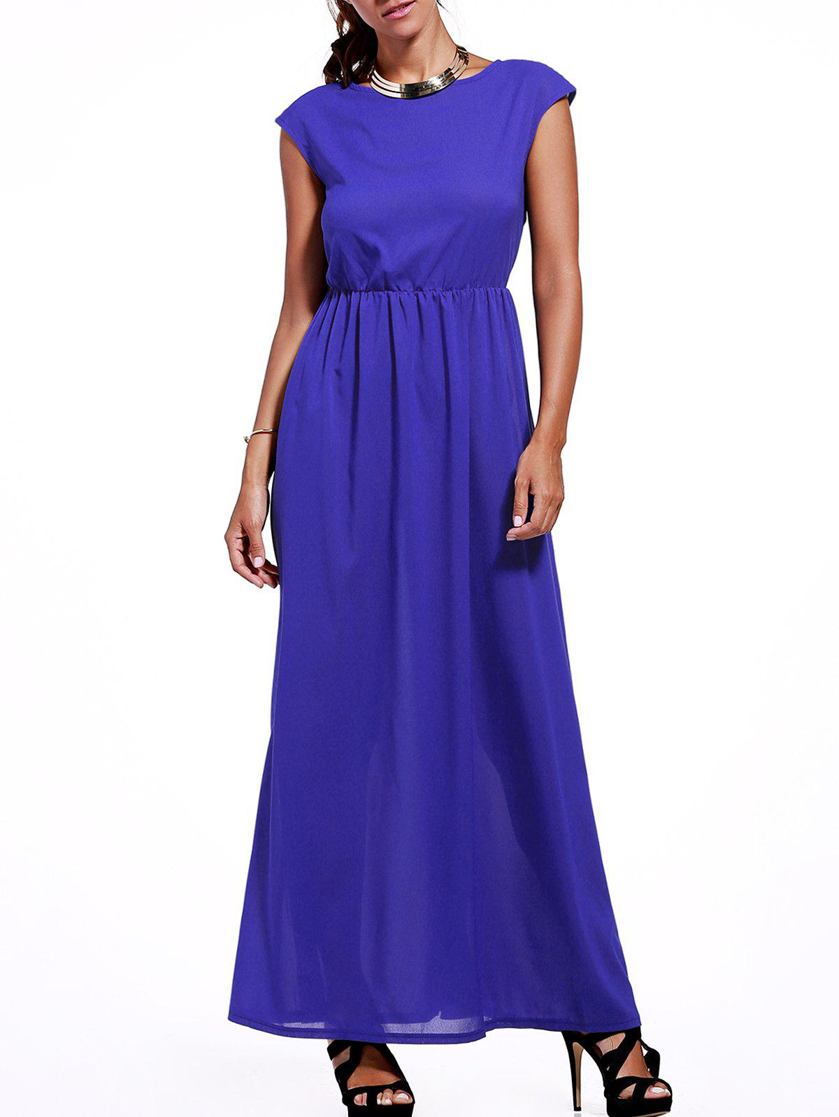 Attractive Women's Cap Sleeve Blue High-Waist Maxi Dress