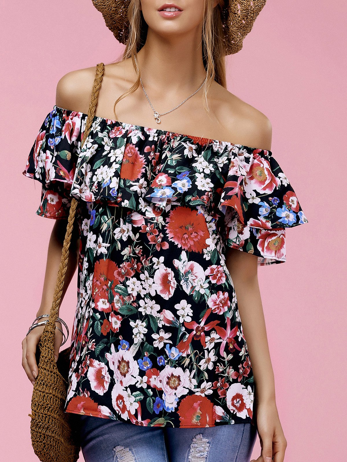 Fashionable Women's Off The Shoulder Floral Print Ruffle Top - BLACK L