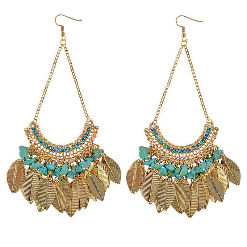 Pair of Vintage Rhinestone Hollowed Leaf Tassel Drop Earrings For Women