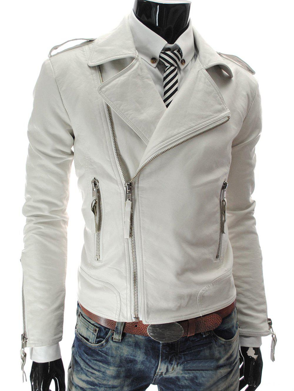 Zipper Stand Collar PU-Leather Epaulet Long Sleeve Men's Jacket - WHITE 2XL