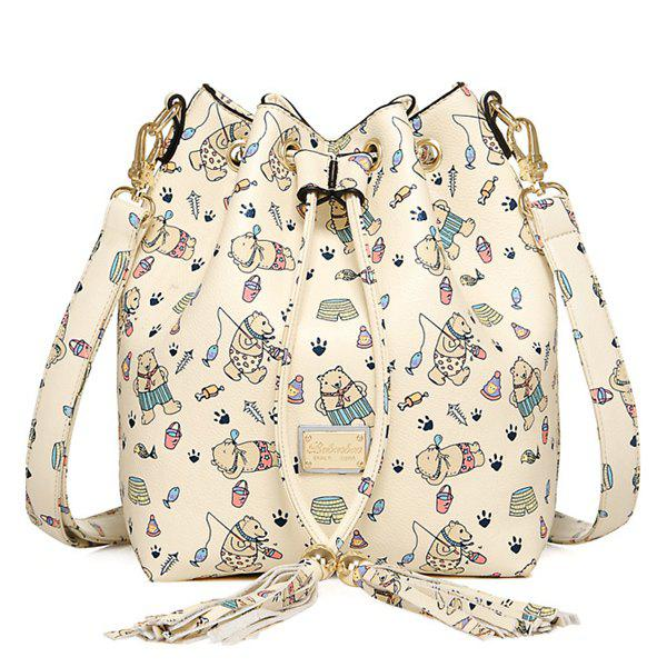 Cute Bear Print and Tassel Design Women's Crossbody Bag - BEIGE