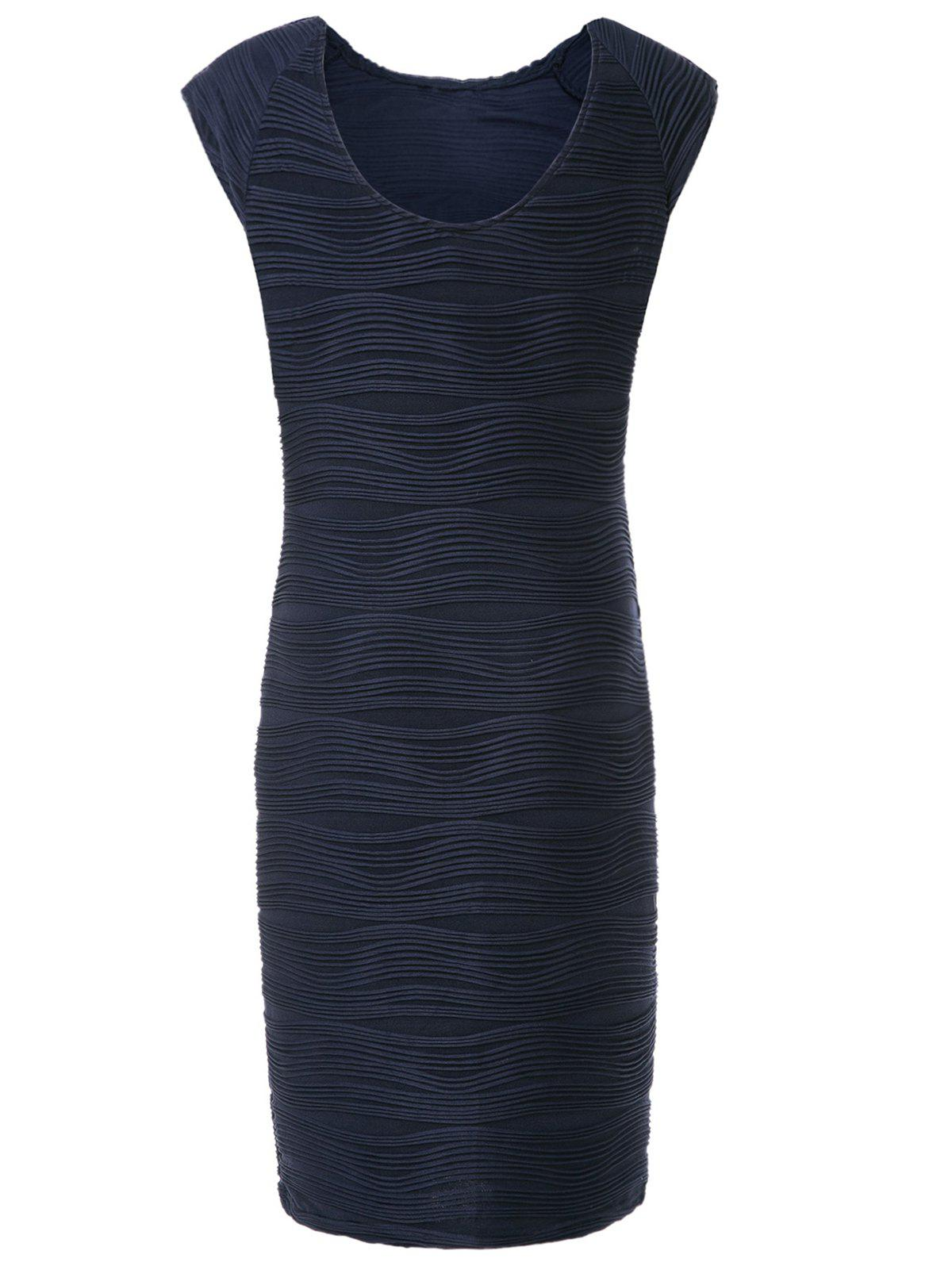 Stylish Round Collar Sleeveless Ruffled Solid Color Women's Sheath Dress - PURPLISH BLUE M