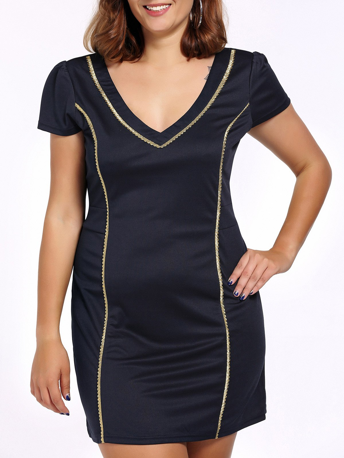 Alluring Plus Size Plunging Neck Hit Color Women's Bodycon Dress