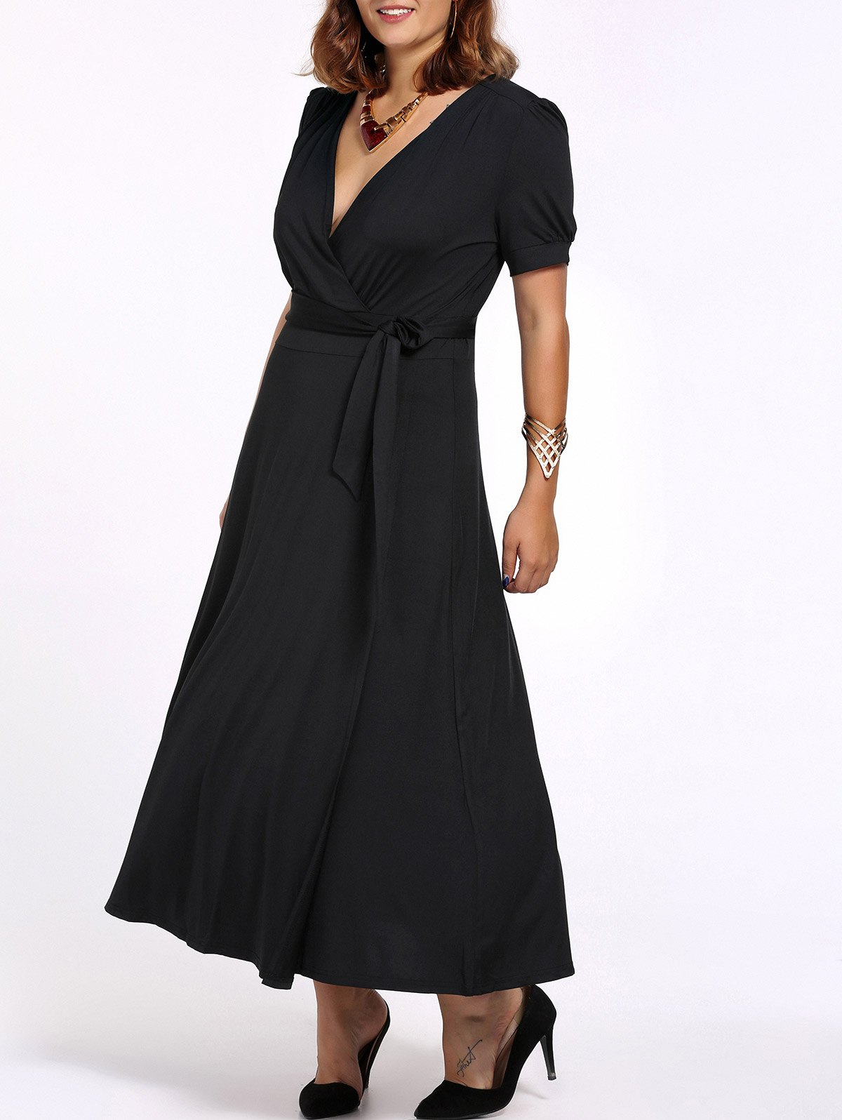 Plus Size Tie Belt Maxi Dress - BLACK 3XL