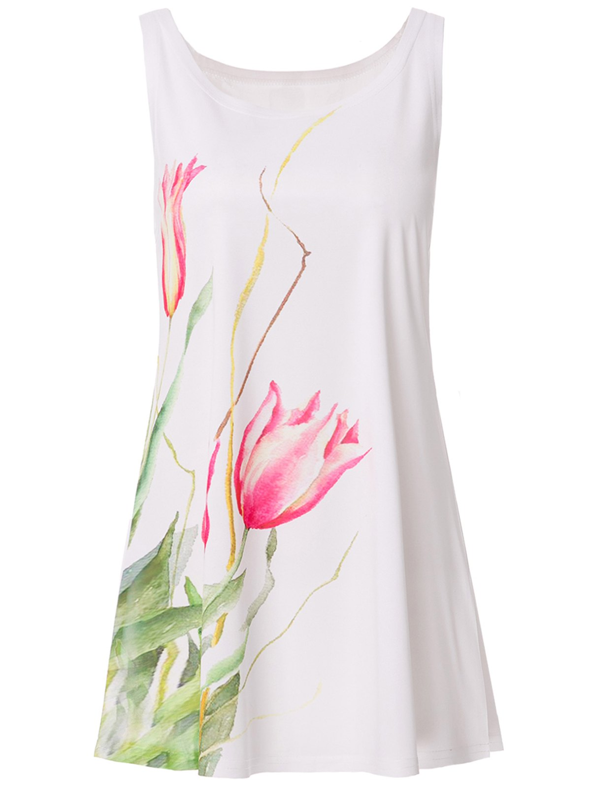 Refreshing Scoop Neck Tulip Print Tank Top For Women - WHITE ONE SIZE(FIT SIZE XS TO M)