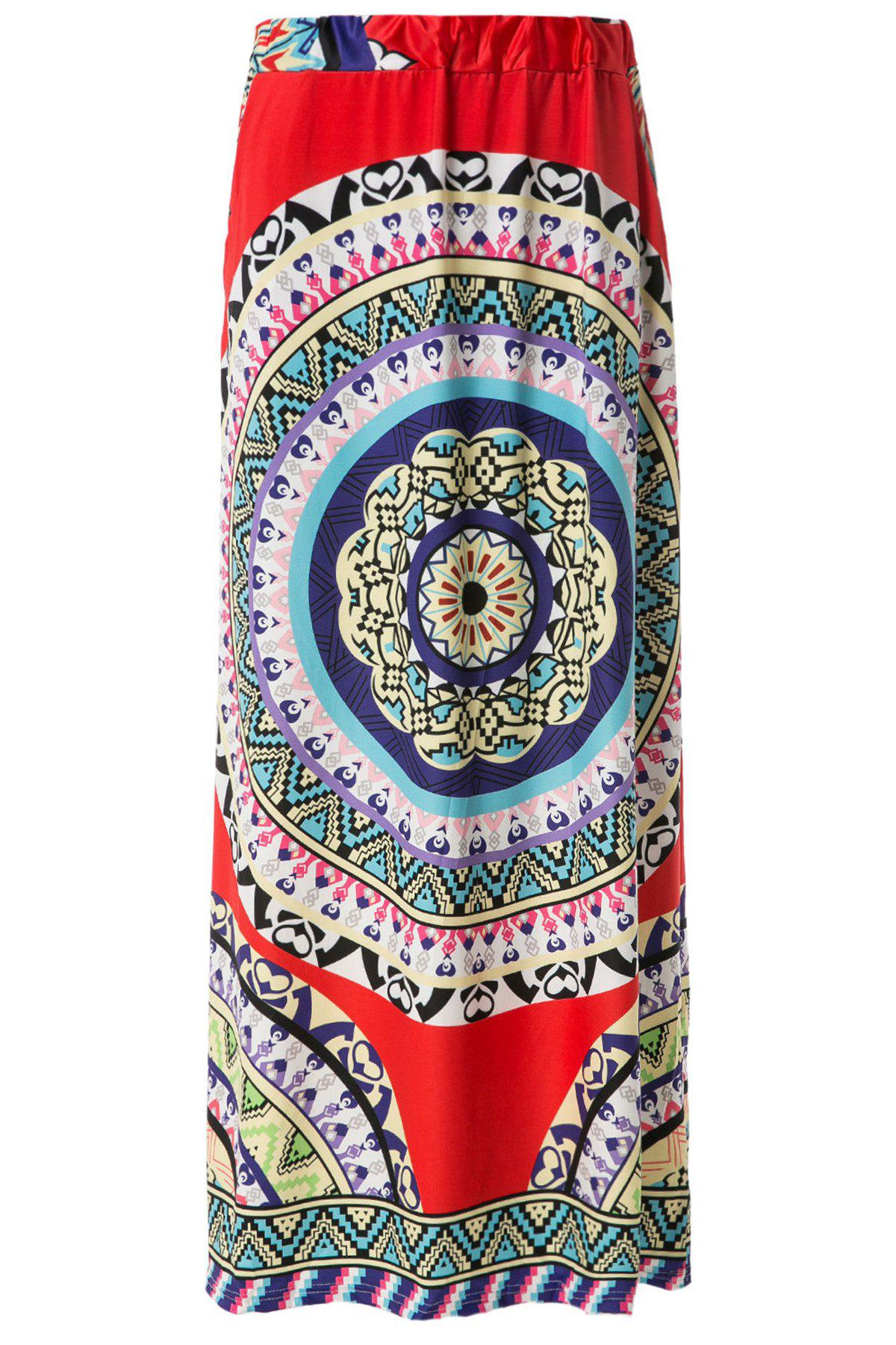 Bohemian Mid-Waisted Floor-Length Printed Skirt For Women - RED XL