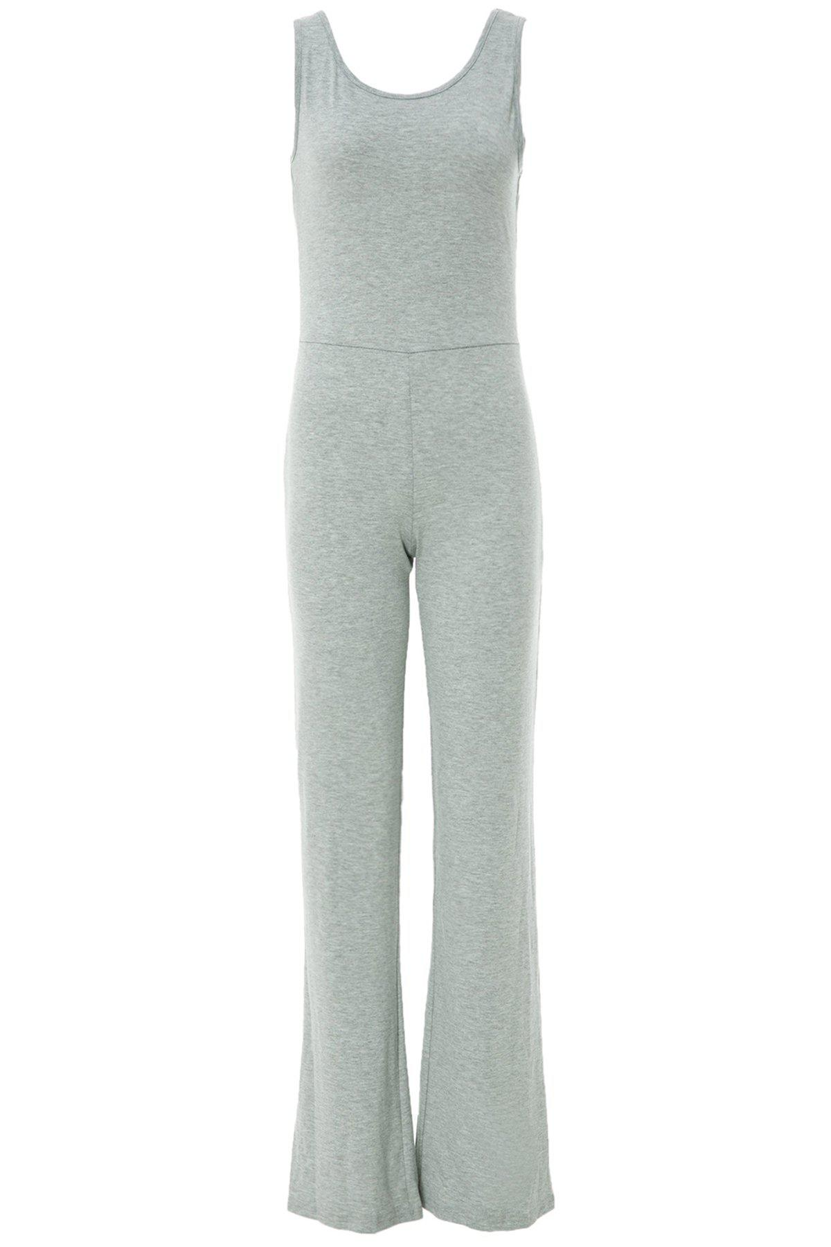 Sexy Scoop Neck Solid Color Backless Sleeveless Women's Jumpsuits - GRAY L
