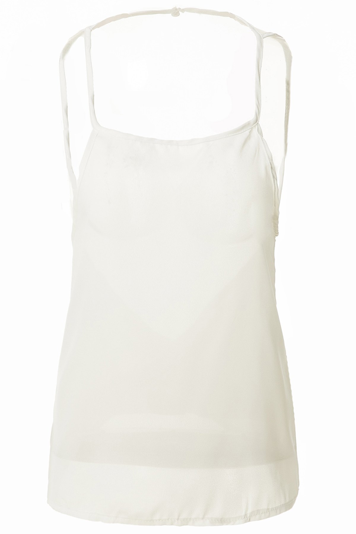 Sexy Scoop Neck Solid Color Open Back Chiffon Womens Tank TopWomen<br><br><br>Size: M<br>Color: WHITE