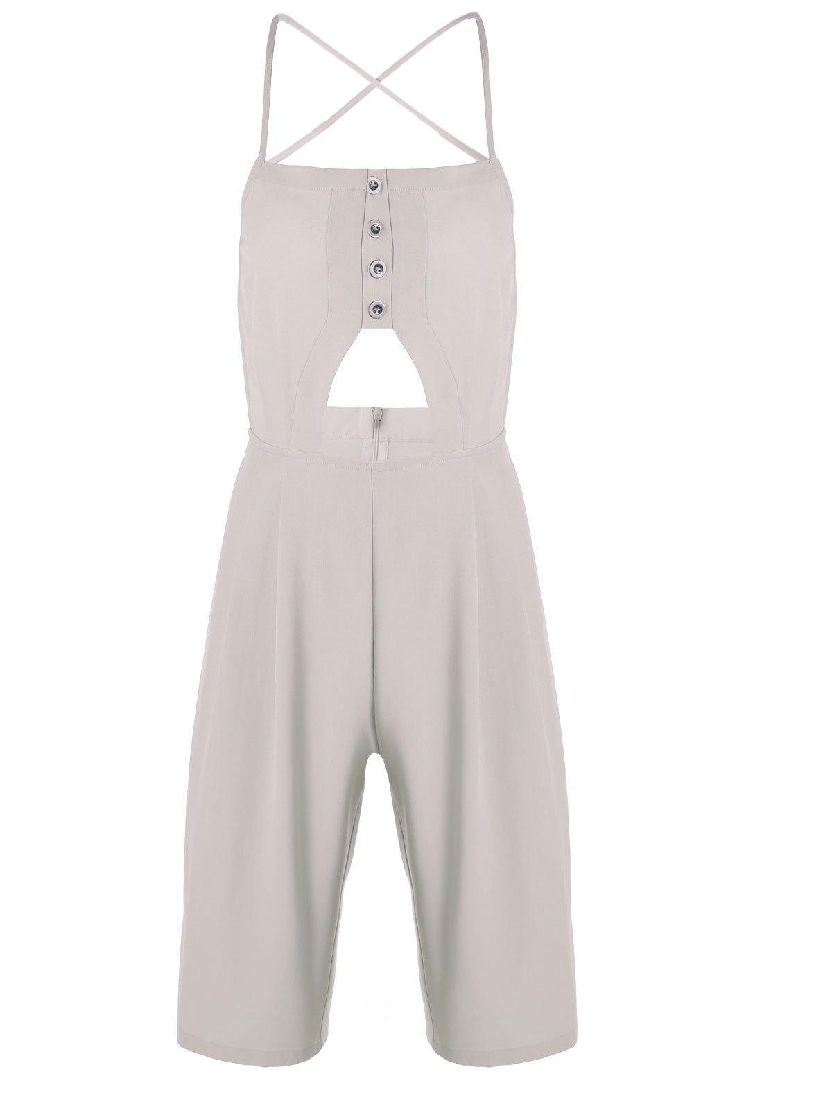 Trendy Apricot Spaghetti Strap Backless Jumpsuit For Women