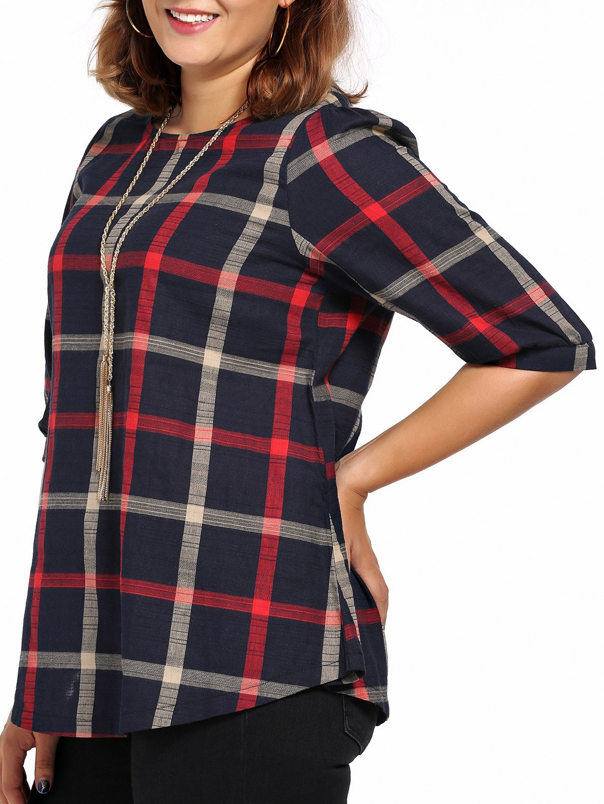 s 'Blouse Chic Plus Size High-Low Hem Plaid Imprimer Femmes - multicolorcolore 5XL