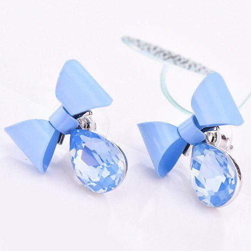 Pair of Bow Water Drop Earrings - BLUE