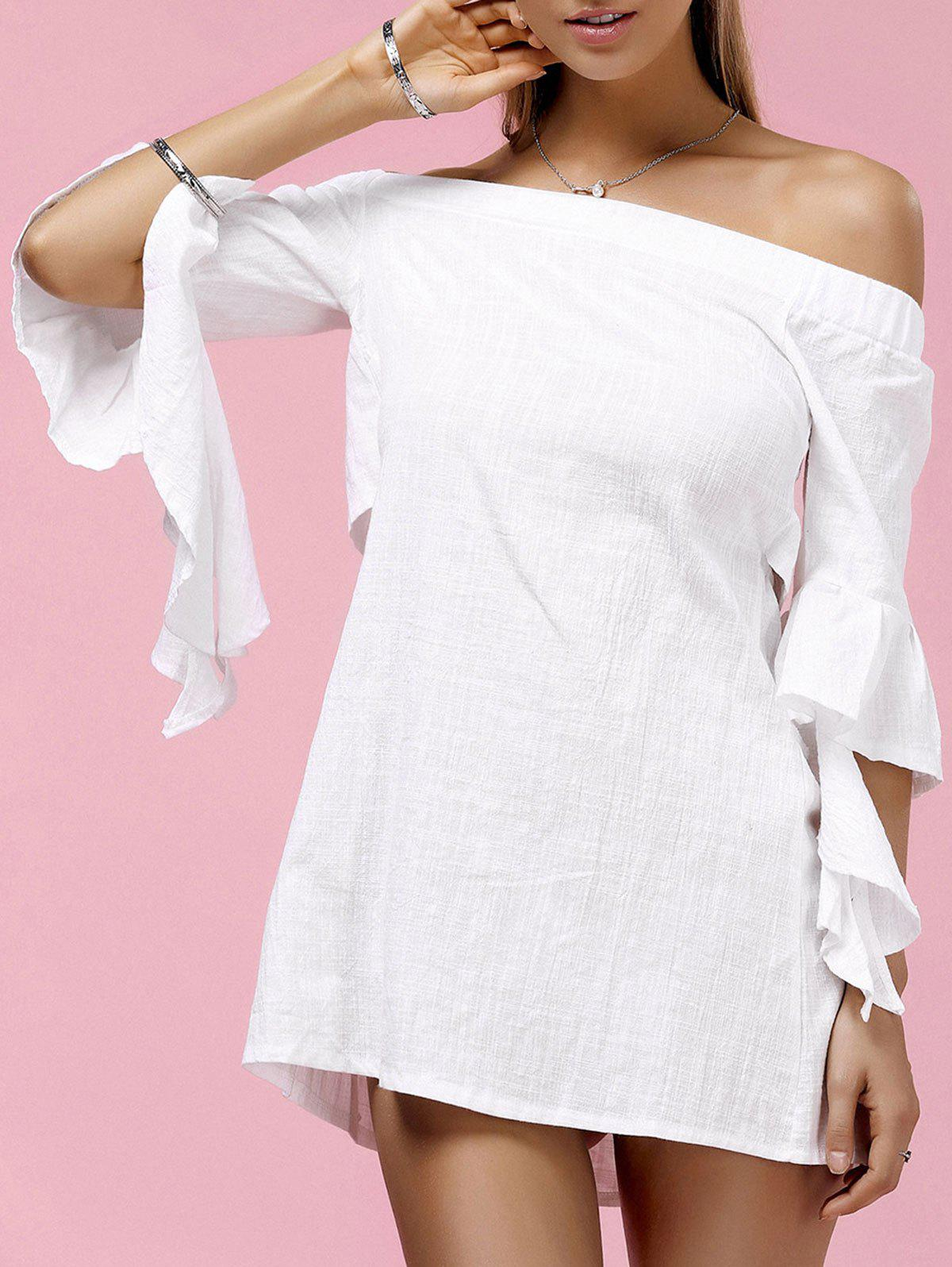 Stylish Women's Off The Shoulder Cut Out Butterfly Sleeve Dress - WHITE M