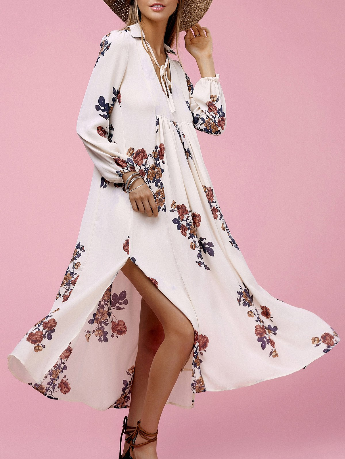 Ethnic Style Women's Long Sleeve Floral Print High Slit Dress