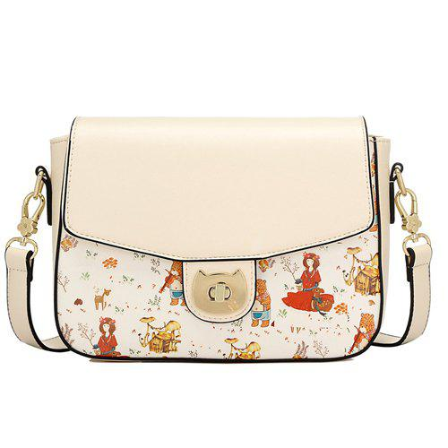 Cute Print and Hasp Design Women's Crossbody Bag