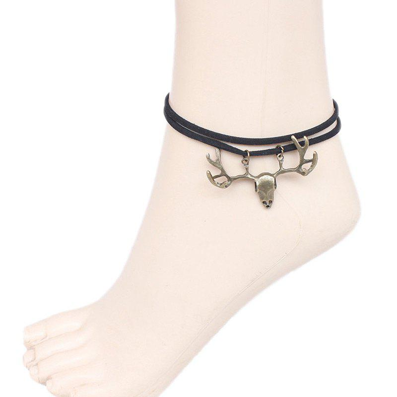 Antler Faux Leather Multilayered Thread Anklet - BLACK