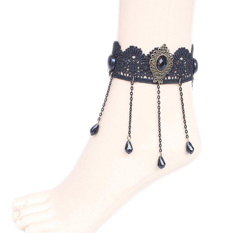 Vintage Water Drop Beads Anklet - BLACK