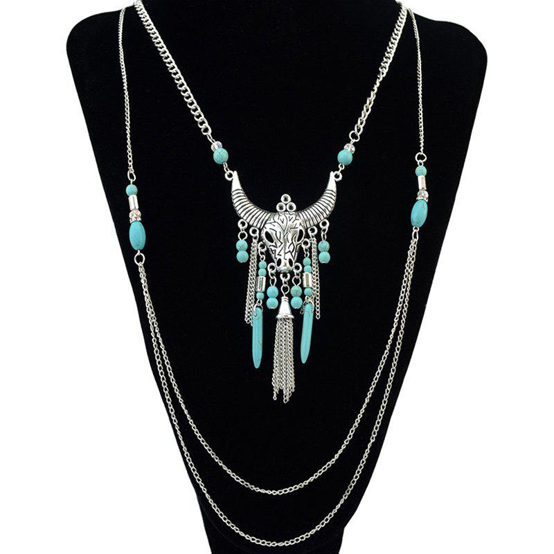 Vintage Faux Turquoise Ox Head Tassel Necklace - SILVER
