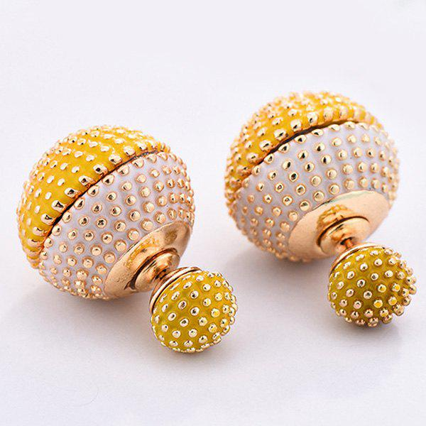 Pair of Chic Stud Embellished Balls Double-End Earrings For Women - YELLOW