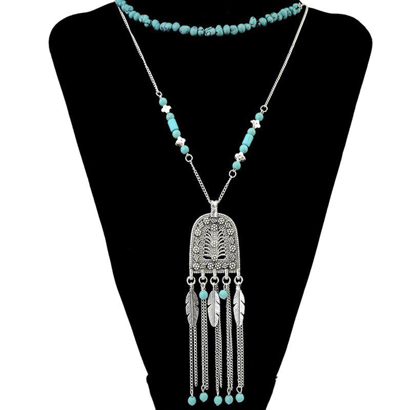 Faux Turquoise Multilayer Leaf Tassel Pendant Necklace - GREEN