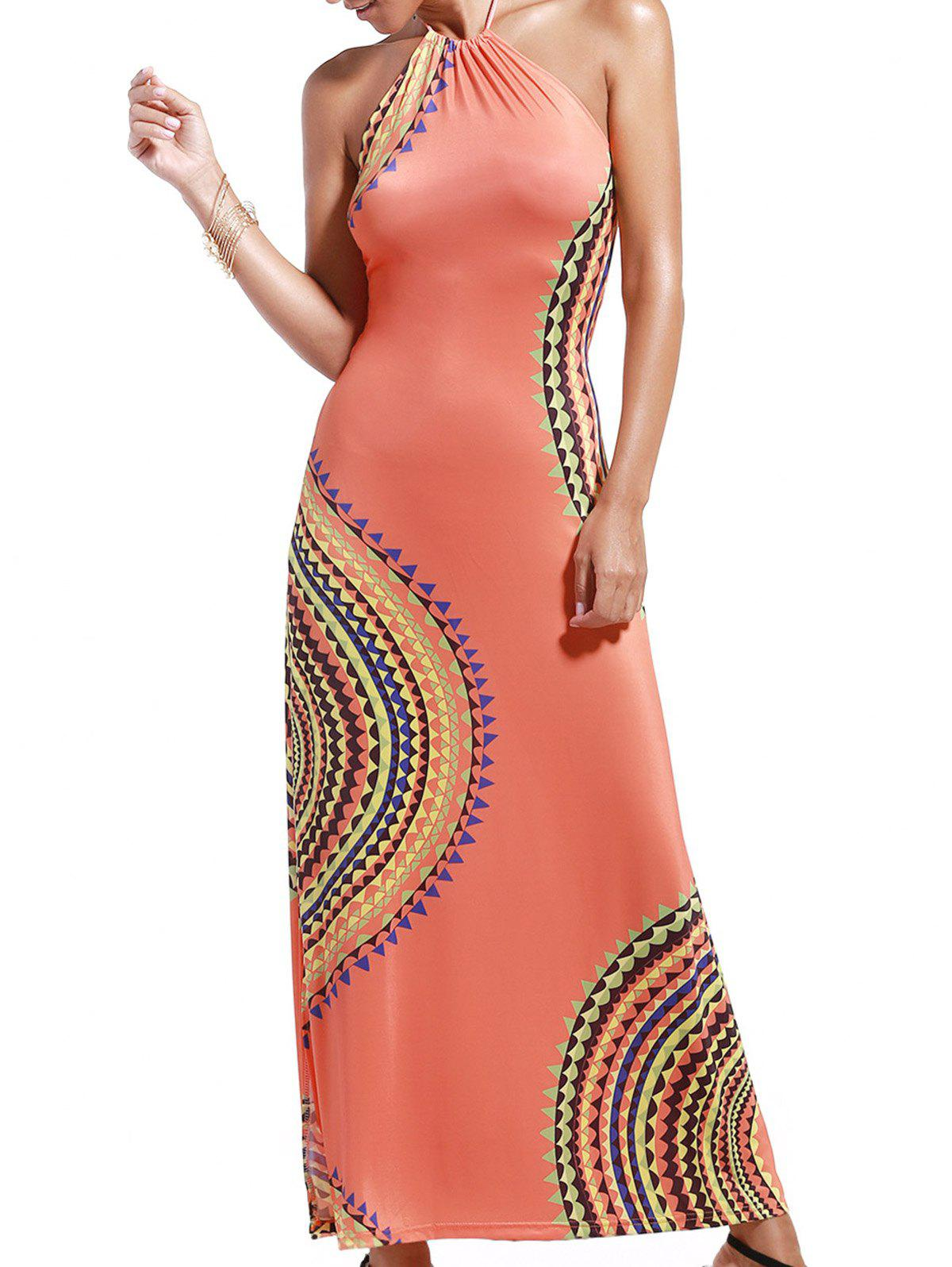 Bohemian Women's Halter Abstract Print Open Back Maxi Dress - ORANGEPINK 2XL