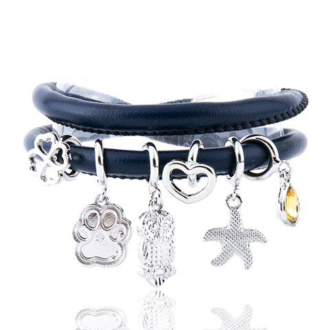 Delicate Owl Starfish Heart Clover Layered Charm Bracelet For Women