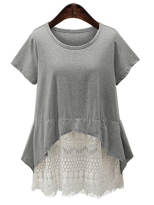 Lace Spliced Asymmetrical Women's Tee - GRAY 4XL