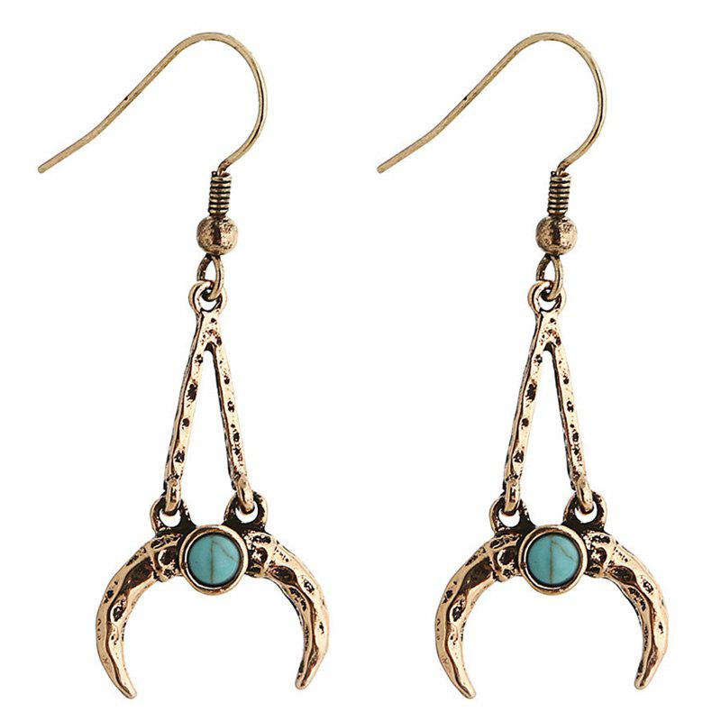 Pair of Faux Turquoise Crescent Shape Drop Earrings - GOLDEN