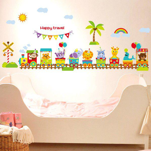 Mignon Cartoon Animals train Lettre mur bâton - multicolorcolore
