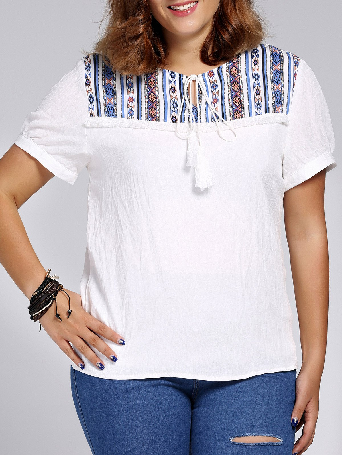 Women's Plus Size Ethnic Printed Spliced T-Shirt - WHITE 5XL