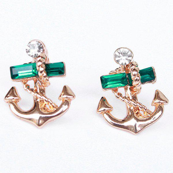 Pair of Rhinestone Anchor Drop Earrings - GOLDEN