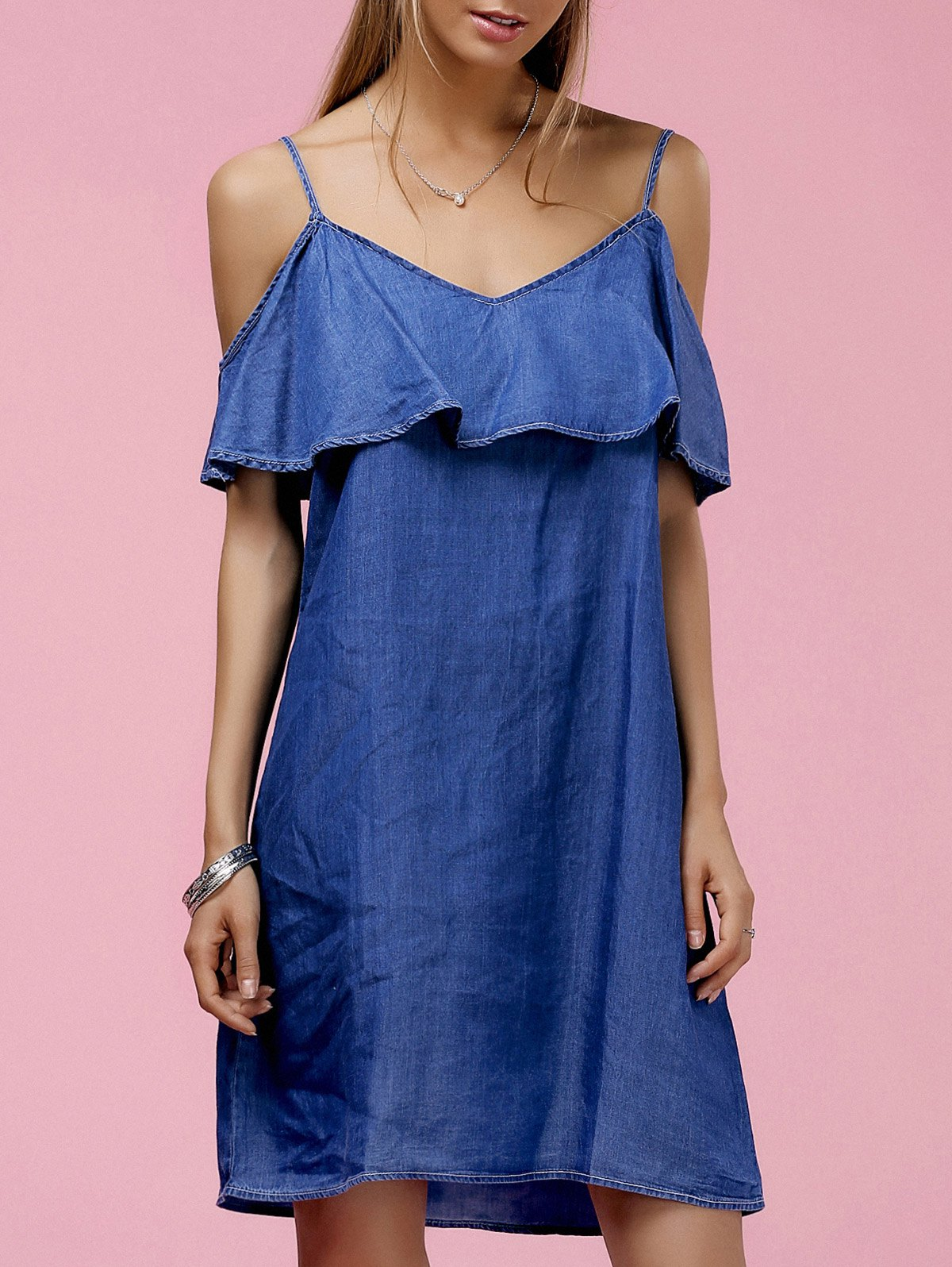 Fashionable Women's Strappy Ruffled Cold Shoulder Denim Dress - BLUE L