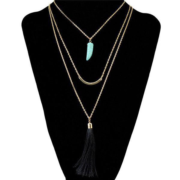 Vintage Faux Turquoise Multilayer Tassel Pendant Necklace For Women