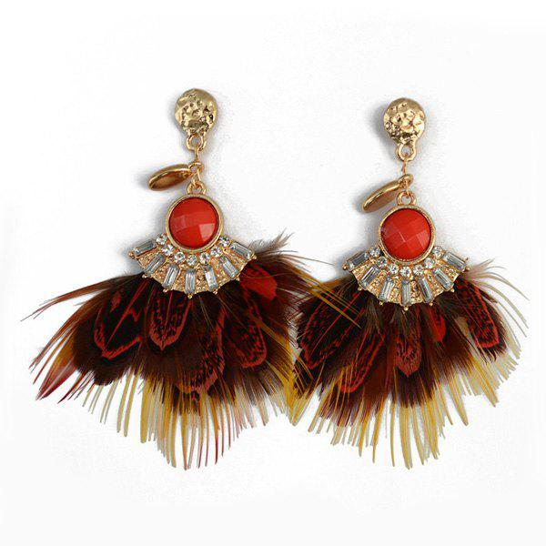 Pair of Rhinestone Faux Gem Feather Drop Earrings - RED