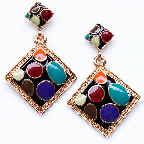 Pair of Alloy Geometric Drop Earrings - GOLDEN