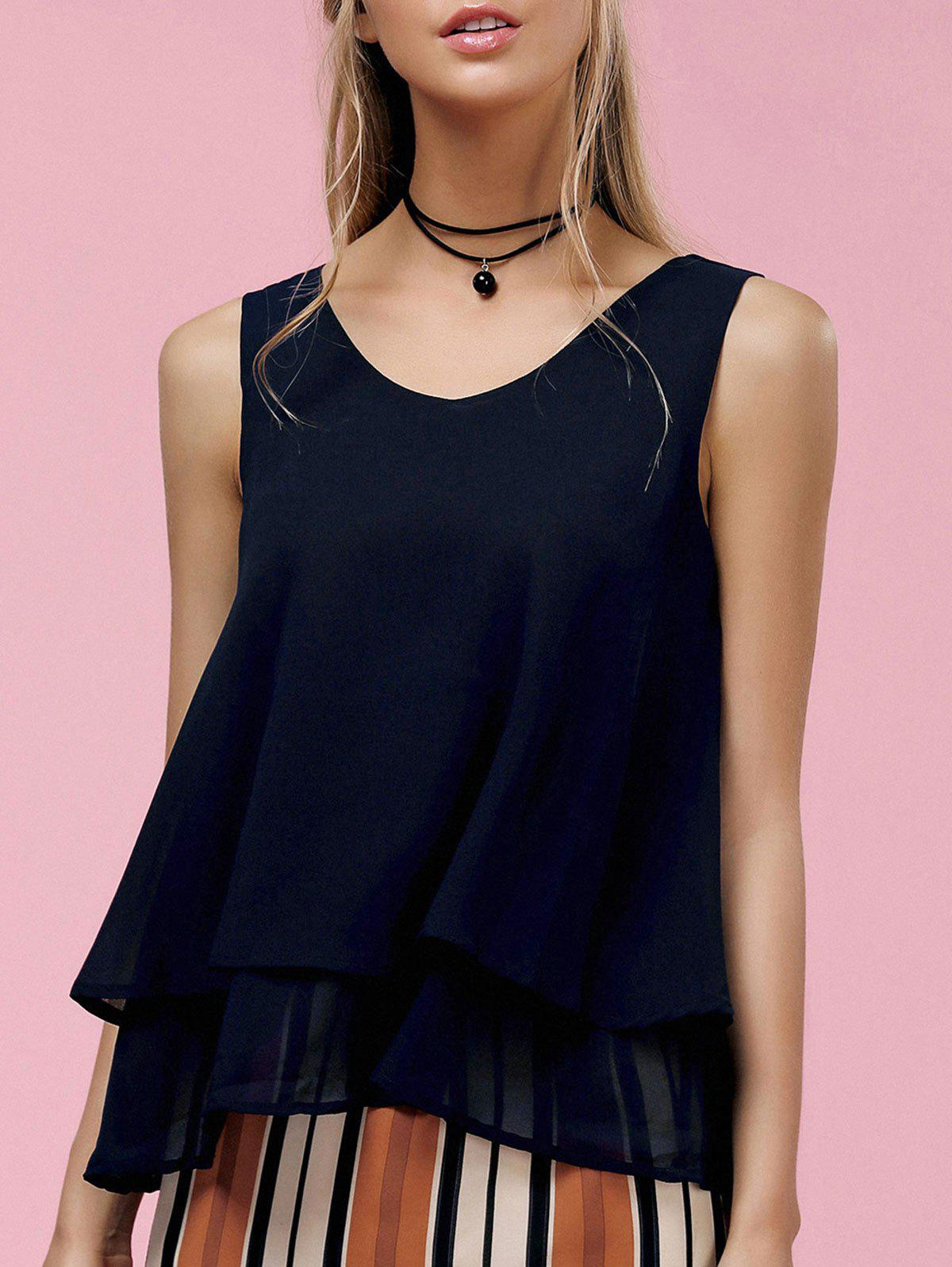 Simple Round Collar Layered Solid Color Women's Tank Top