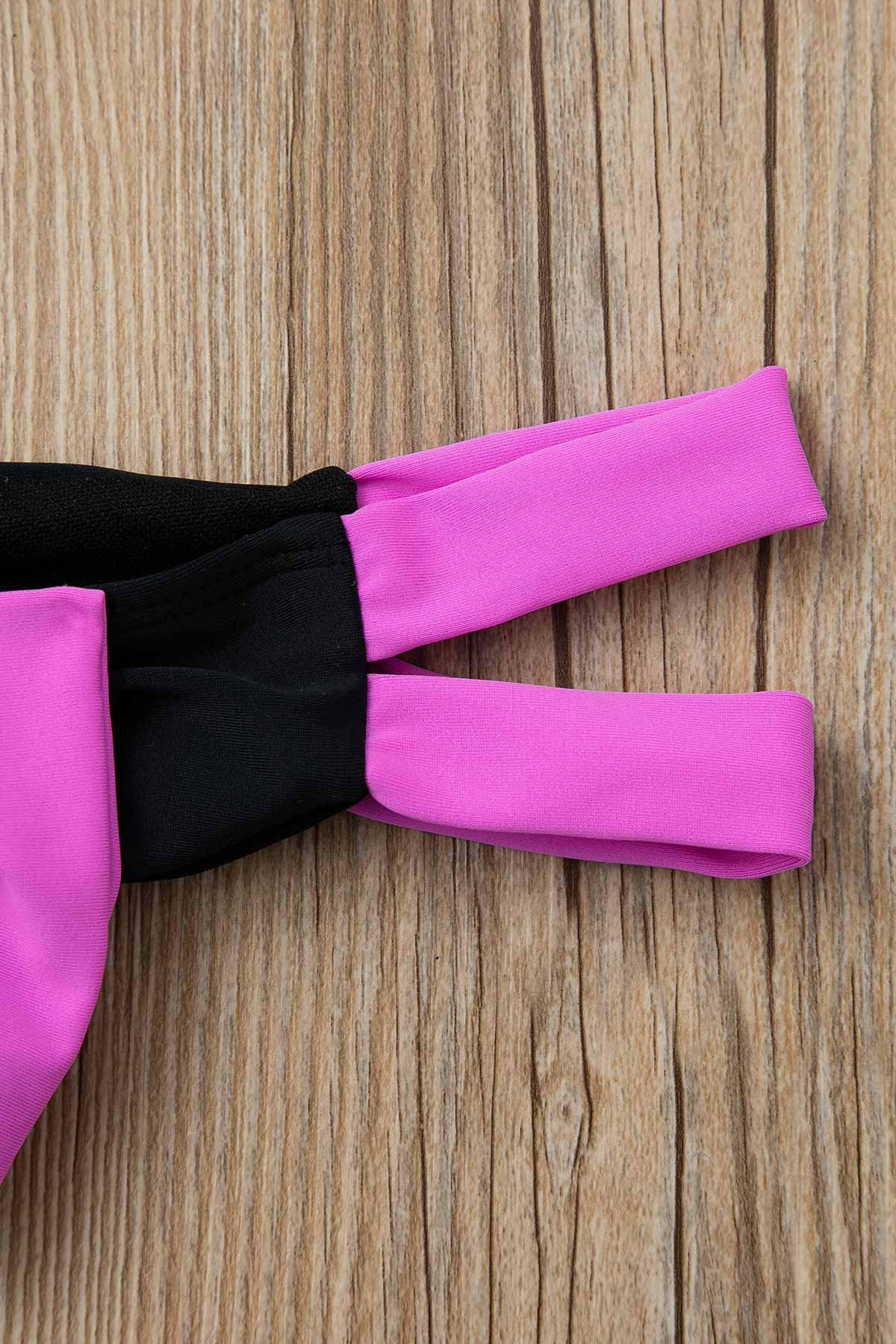 Sexy Color Block Bowknot Embellished Women's Briefs - BLACK/PINK M