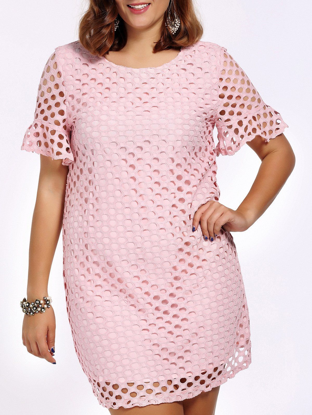 Sweet Plus Size Flare Sleeve Hollow Out Women's Dress - PINK 5XL