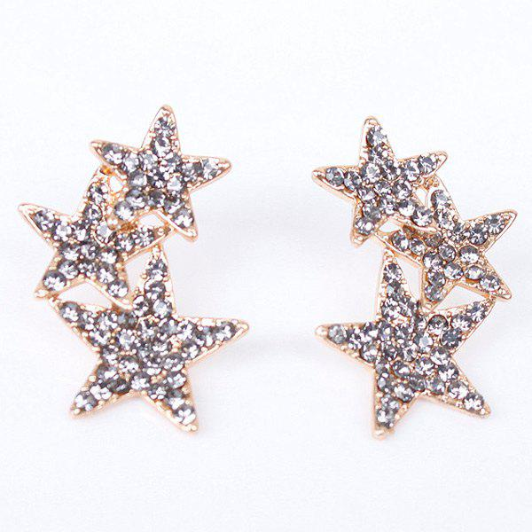 Pair of Noble Rhinestoned Pentagram Earrings For Women - GRAY
