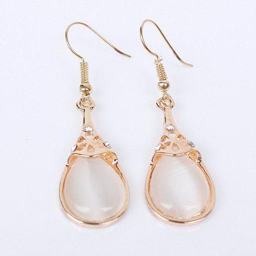 Pair of Water Drop Faux Opal Earrings - GOLDEN