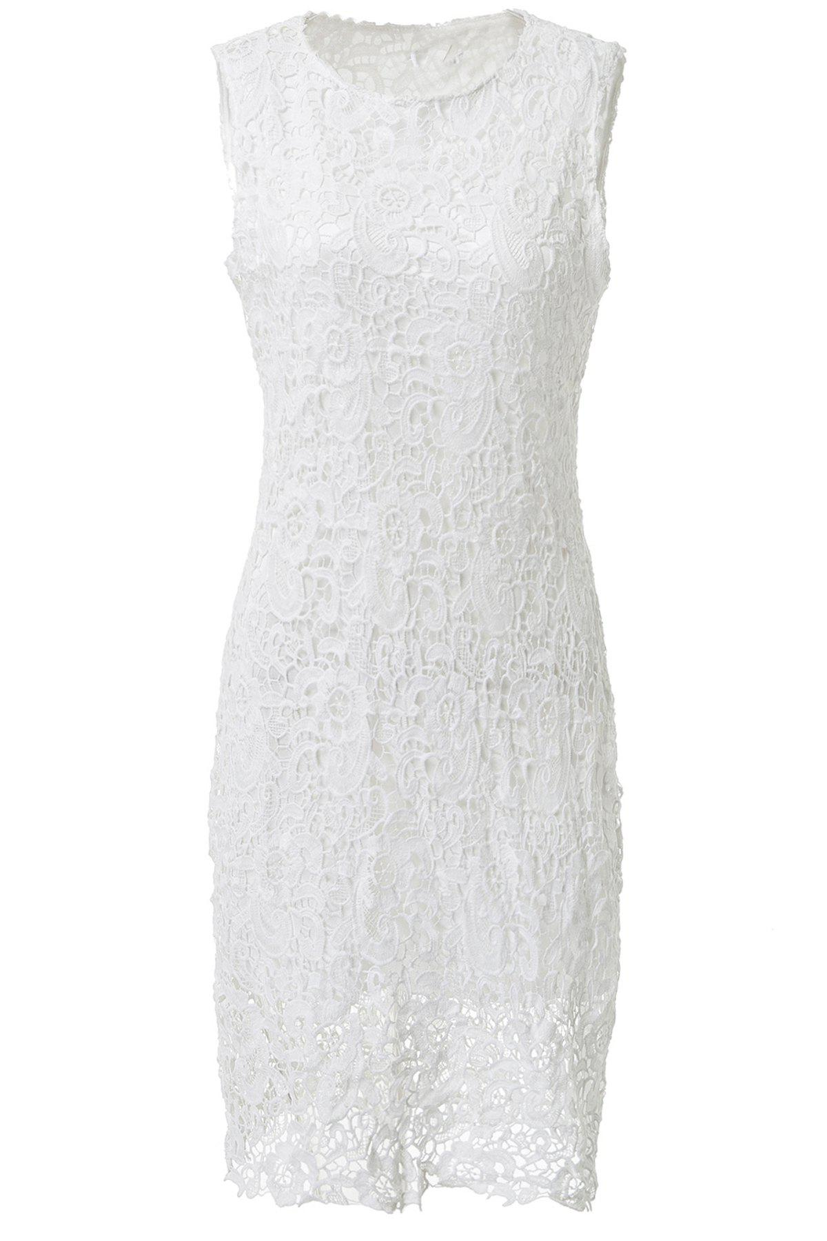 Sexy Round Neck Sleeveless Cut Out Solid Color Women's Lace Dress - WHITE L