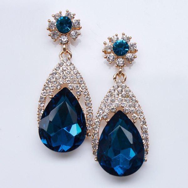 Pair of Water Drop Faux Gem Earrings - BLUE