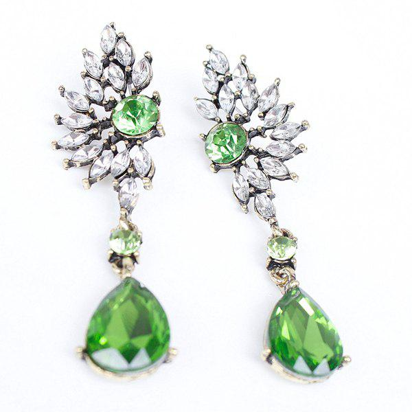 Pair of Faux Gem Hollow Out Earrings - GREEN
