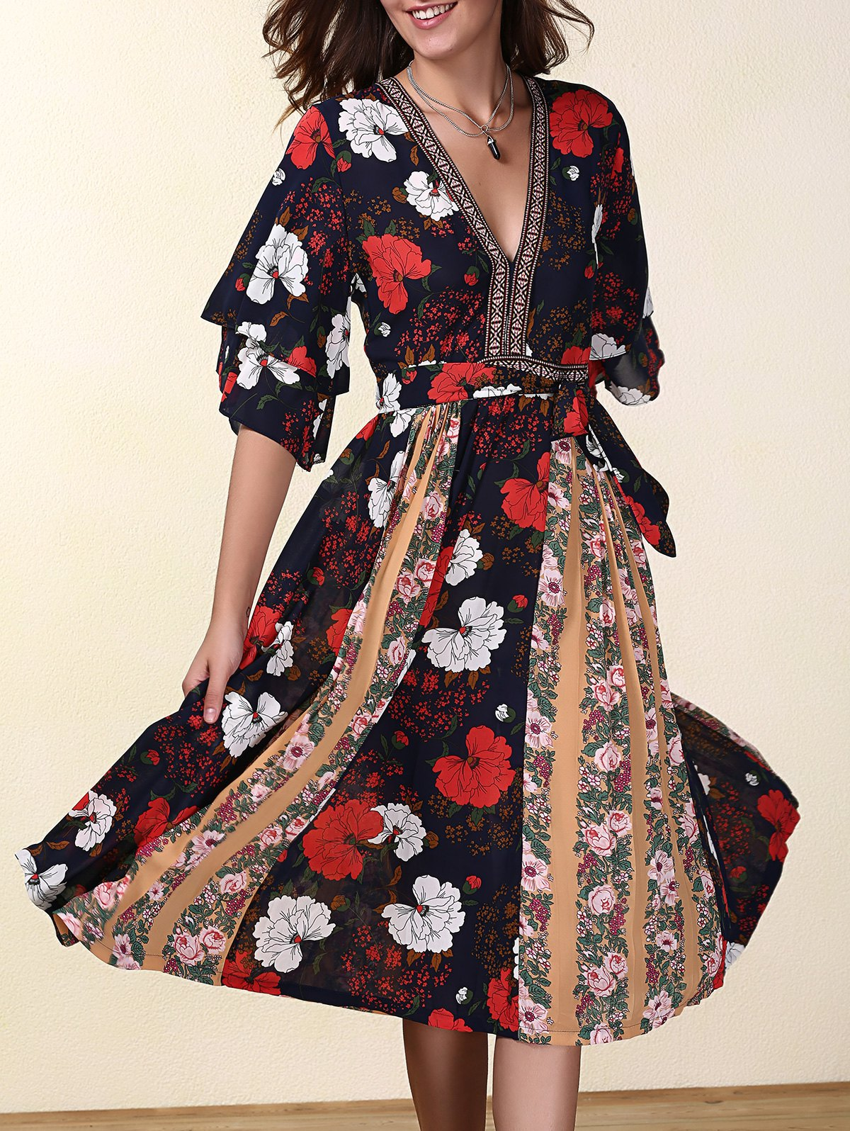 Country Style V-Neck Flare Sleeve Hit Color Chiffon Women's Dress - RED XL