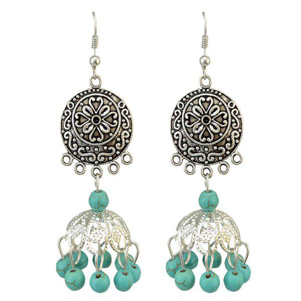 Pair of Boho Style Embossed Faux Turquoise Bead Tassel Drop Earrings For Women
