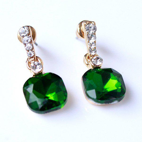 Pair of Faux Crystal Alloy Drop Earrings - GREEN