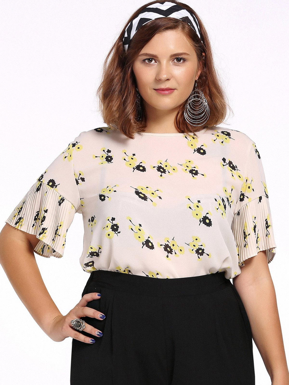 Chic Plus Size Pleated Tiny Flower Print Women's Blouse - OFF WHITE 2XL